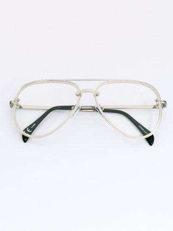 MODERN Srebrne okulary zerówki pilotki typu aviator