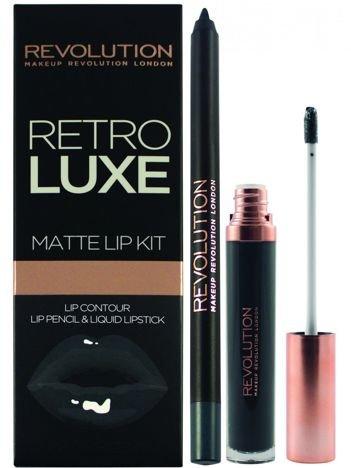 Makeup Revolution Retro Luxe Gloss Lip Kit Zestaw do ust konturówka 1g + matowa pomadka w płynie 5,5ml Magnificent