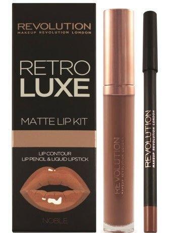 Makeup Revolution Retro Luxe Gloss Lip Kit Zestaw do ust konturówka 1g + matowa pomadka w płynie 5,5ml Noble