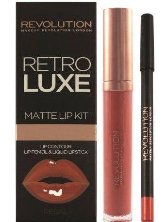 Makeup Revolution Retro Luxe Gloss Lip Kit Zestaw do ust konturówka 1g + matowa pomadka w płynie 5,5ml Regal