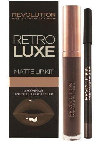 Makeup Revolution Retro Luxe Matte Lip Kit Zestaw do ust konturówka 1g + matowa pomadka w płynie 5,5ml Glory
