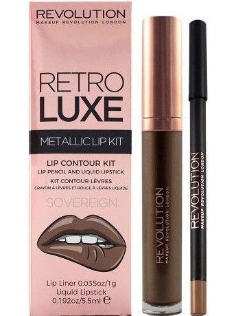 Makeup Revolution Retro Luxe Metallic Lip Kit Zestaw do ust konturówka 1g + pomadka w płynie 5,5ml Sovereign