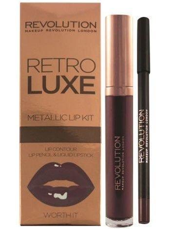 Makeup Revolution Retro Luxe Metallic Lip Kit Zestaw do ust konturówka 1g + pomadka w płynie 5,5ml Worth It
