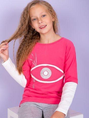 Malinowa bawełniana bluza dziewczęca z okiem i pikowaniem