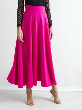 Malinowa spódnica maxi w kontrafałdy