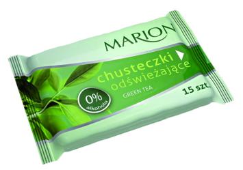 Marion Chusteczki odświeżające Green Tea o zapachu zielonej herbaty 15 szt.