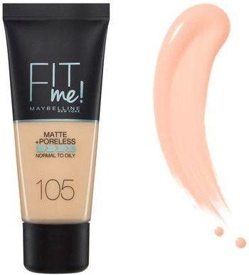 Maybelline matujący podkład FIT ME! Matte&Poreless 105 Natural Ivory 30 ml