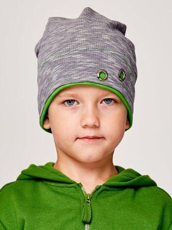Melanżowa czapka chłopięca z nitami szaro-zielona