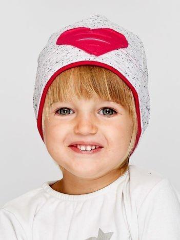 Melanżowa czapka dziewczęca z naszytym sercem szaro-amarantowa