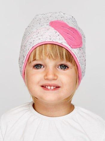 Melanżowa czapka dziewczęca z naszytym sercem szaro-różowa