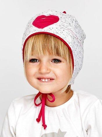 Melanżowa czapka dziewczęca z sercem i wiązaniem szaro-amarantowa