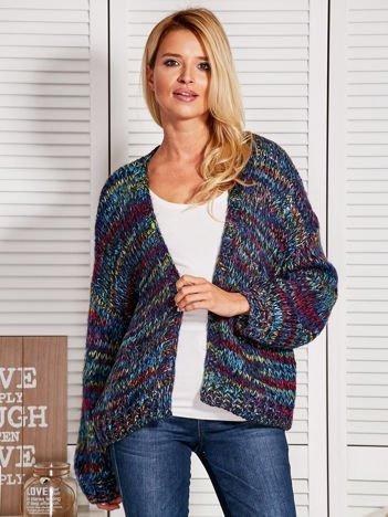 Melanżowy otwarty sweter oversize czarny