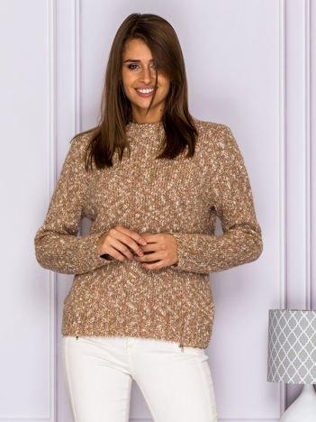Melanżowy włochaty sweter brązowy