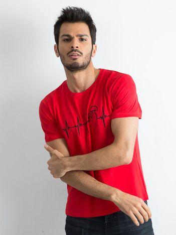 Męska koszulka z bawełny czerwona