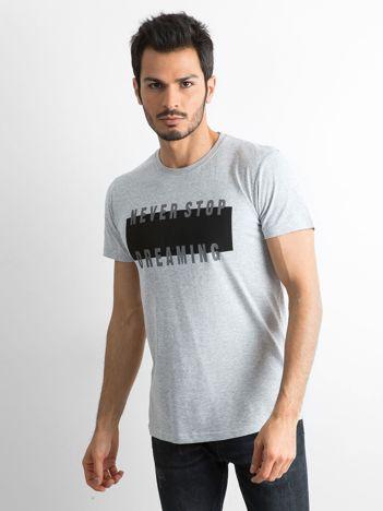 Męska koszulka z nadrukiem szara