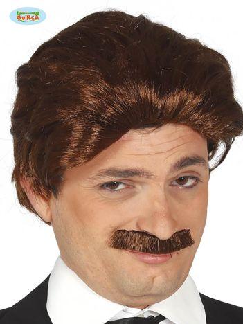 Męska peruka z wąsami brązowa