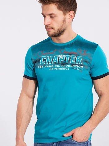 Męski t-shirt bawełniany turkusowy