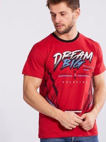 Męski t-shirt z bawełny czerwony