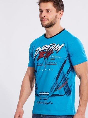 Męski t-shirt z bawełny niebieski