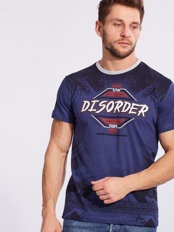 Męski t-shirt z bawełny z printem ciemnoniebieski