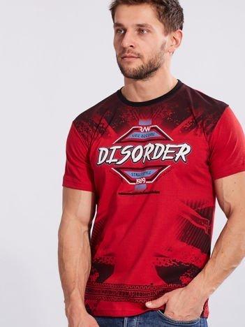 Męski t-shirt z bawełny z printem czerwony