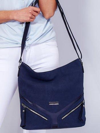 Miejska niebieska torba na ramię z ozdobnymi suwakami