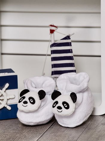 Miękkie buciki dziecięce z misiem pandą białe