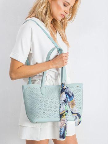 Miętowa ażurowa torba shopper
