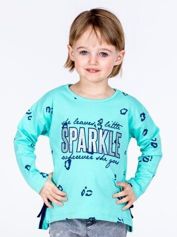 Miętowa bawełniana bluzka dziewczęca z nadrukiem i kokardkami