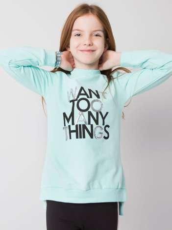 Miętowa bluza dla dziewczynki z lampasami