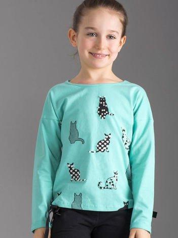 Miętowa bluzka dla dziewczynki w koty