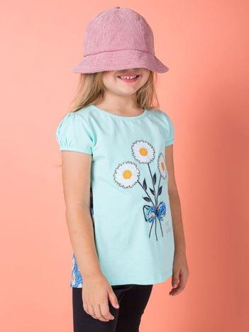 Miętowa bluzka dla dziewczynki w kwiaty