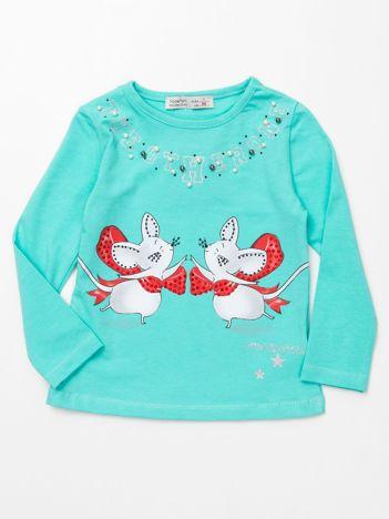 Miętowa bluzka dla dziewczynki z aplikacją