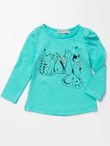 Miętowa bluzka dla dziewczynki z nadrukiem