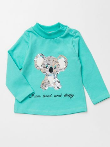Miętowa bluzka dla dziewczynki ze zdobieniem