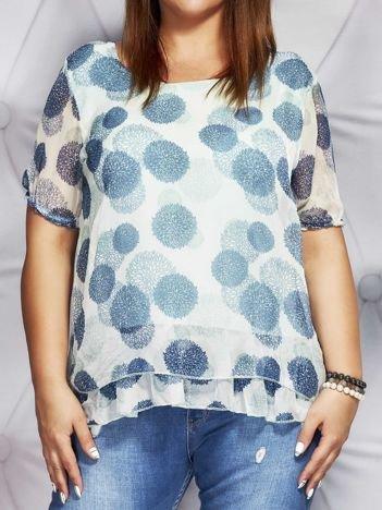 Miętowa bluzka mgiełka w kolorowe wzory PLUS SIZE