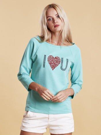 Miętowa bluzka z aplikacją serca