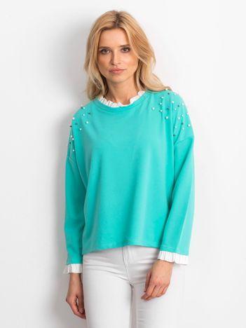 Miętowa bluzka z perełkami