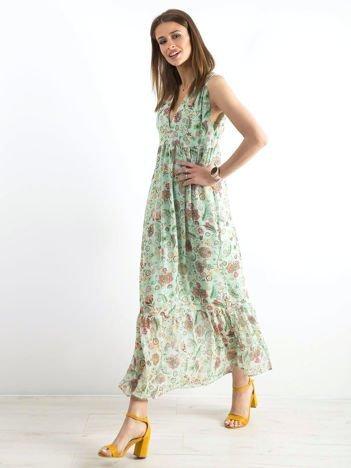 Miętowa długa sukienka