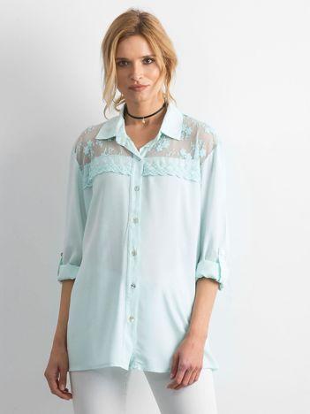 Miętowa koszula z długim rękawem