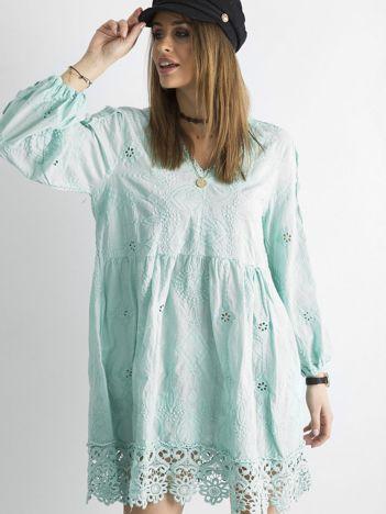 Miętowa luźna sukienka