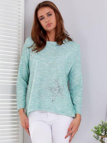 Miętowa melanżowa bluzka z gwiazdkami z dżetów