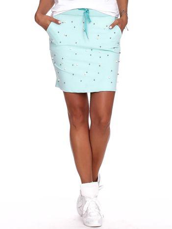 Miętowa spódnica dresowa z perełkami i kieszeniami PLUS SIZE