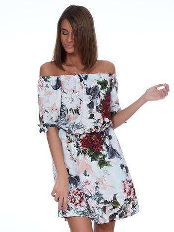 Miętowa sukienka hiszpanka w kwiatowe desenie
