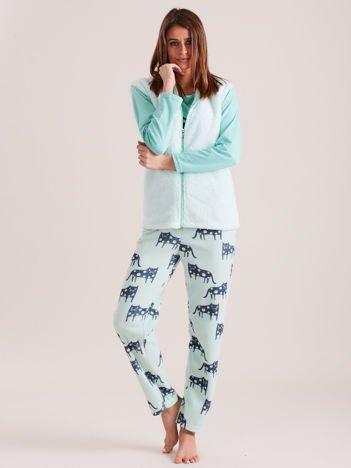 Miętowa trzyczęściowa piżama damska