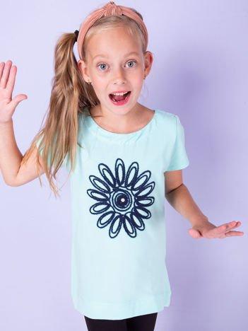 Miętowa tunika dla dziewczynki z kwiatem