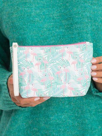 Miętowo-różowa kosmetyczka we wzory