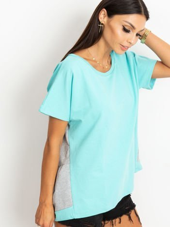 Miętowo-szara bluza oversize z krótkim rękawem i falbanką