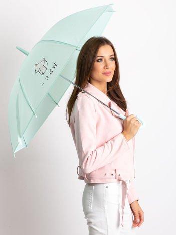 Miętowy damski parasol z nadrukiem