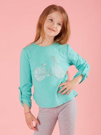 Miętowy dziewczęca bluzka z aplikacją
